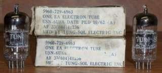 USN 6U8A Vacuum Tubes NOS/NIB Matched Pair Black/Gray Plate Mil Spec