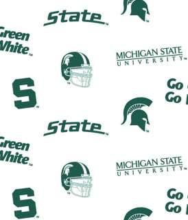 Michigan State University Spartans Cotton Fabric Print