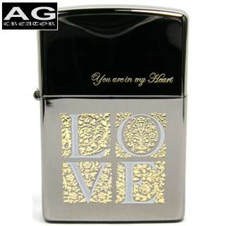 JAPANESE ZIPPO LIGHTER YOU ARE IN MY HEART BLACK ICE