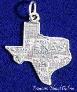 TEXAS STATE MAP HOUSTON DALLAS Sterling Silver Charm