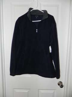 Mens St. Johns Bay Pull Over 1/4 Zip Fleece Jacket Size L Navy, Green