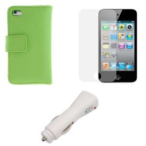 GTMax White USB Car Charger + Green Wallet Leather Case