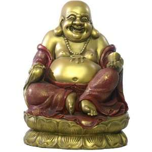 Seated Happy Buddha Hotei on Lotus Base Sculpture, Extra