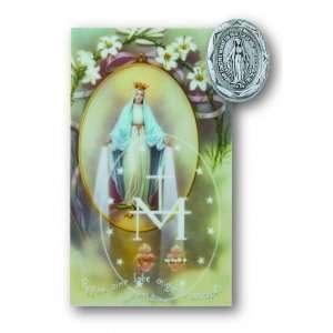 Miraculous Pin Prayer Card Set Lapel Pin Patron Saint Medal Catholic