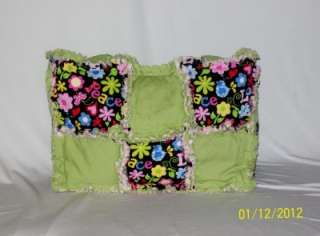 Peace Love ButterFly Flower Heart Pink Lime Rag Quilt Diaper Bag Tote