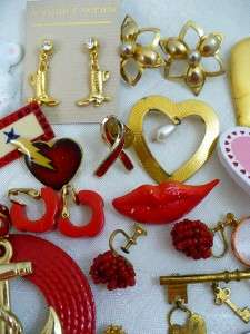 101 Vintage Red Love Heart Themed Jewelry Large lot Earrings Pins