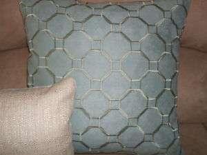 20 Kravet Geometric Aqua Dusty Blue Faux Suede Pillow