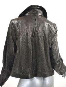 LINE 100% Lambskin Leather Black Jacket Soft Leather Lined Nice