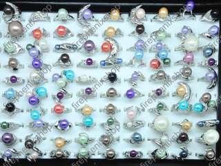 Wholesale 50 Rhinestone Multicolor Imitated Pearl Rings