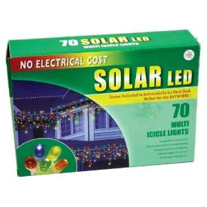 Good Tidings Holiday Solar Powered LED Icicle Light Set, Multi Colored
