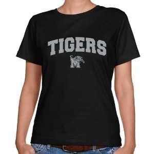 Memphis Tigers Ladies Black Logo Arch Classic Fit T Shirt Sports
