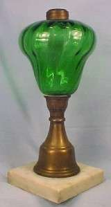 Great Antique GREEN GLASS BRASS & MARBLE KEROSENE LAMP