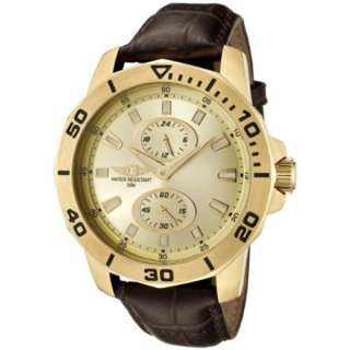 Invicta Mens 18k Gold Plated Dial and Case Brown Leather 43663 004 I
