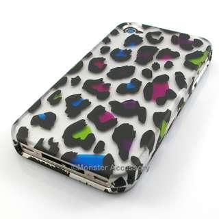 Rainbow Leopard Rubberized Hard Case for Apple iPhone 4