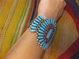 Zuni Turquoise Coral Sterling Silver HUGE Signed Cuff Bracelet