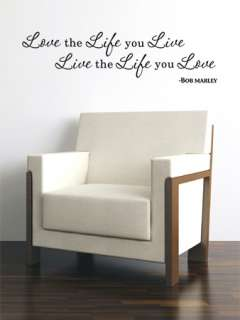 LOVE LIFE BOB MARLEY INSPIRATIONAL QUOTE VINYL WALL DECAL STICKER ART