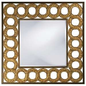 Interlocked Circles Embossed Antiqued 40 Wide Wall Mirror