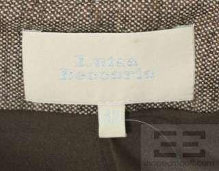Luisa Beccaria Brown Tweed Wool Flounce Hem Skirt Size 42