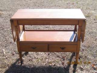 Crawford Furniture Jamestown NY Maple Drop Leaf Server Table w Drawers