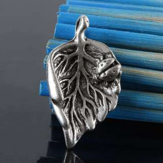 Kf321*35Pc Tibet Silver Lucky Leaf Charms Pendant Bead