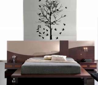 Birds in Bare Tree Deco Vinyl Mural Wall Decal Sticker