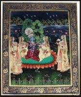 RADHA KRISHNA LOVE SCENE MINIATURE CLOTH PAINTING INDIA