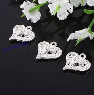 Lot 100pcs Beautiful Silver Plated Hollow Flower Pattern Loving Heart