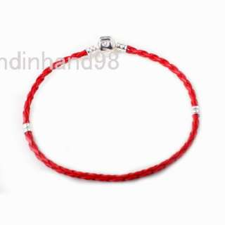 FREE SHIP LEATHER BRAIDED LOVE CHARM BRACELET FOR BEADS 16CM COLORFUL