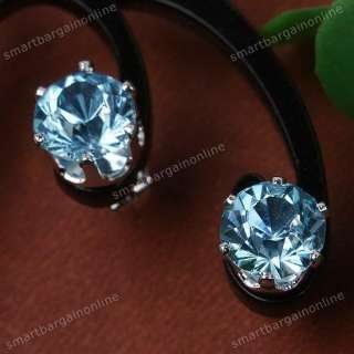 Light blue no nickel ear stud rhinestone crystal earring fashion