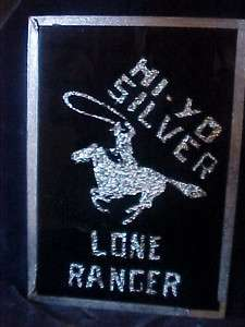 OLD LONE RANGER / SILVER REVERSE PAINT FOIL FOLK ART GLASS THEATER