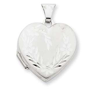 New 14K White Gold Diamond Cut 18mm Heart Locket