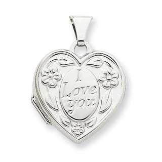 New 14K White Gold Heart Shaped I Love You Locket