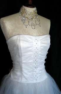 NWT Jessica McClintock White Rhinestones Tulle Dress 11