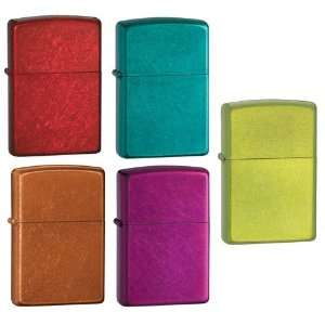 Zippo Lighter Set   Lurid, Candy Teal, Raspberry, Toffee and Apple Red