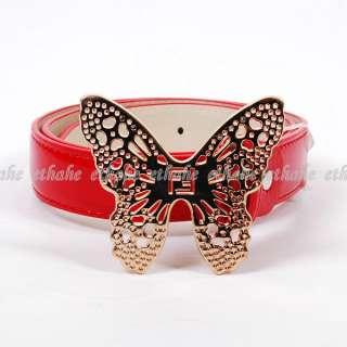 Womens Butterfly Buckle Waist Belt Gold Red 2LGE