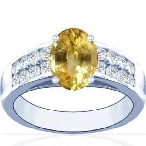 14K White Gold Oval Cut Yellow Sapphire Ring With