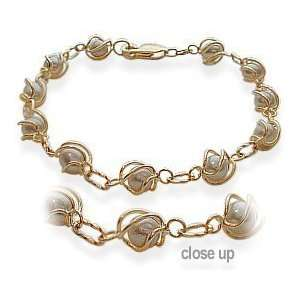 Ladies Yellow Cultured Pearl Gold Bracelet Jewelry
