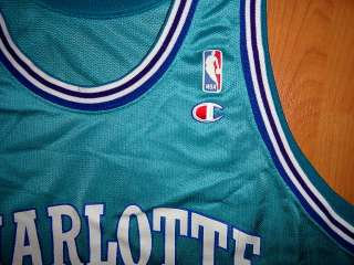 vtg LARRY JOHNSON CHARLOTTE HORNETS #2 BASKETBALL JERSEY CHAMPION sz