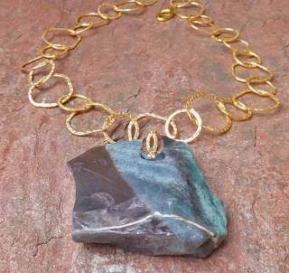HUGE AGATE NATURAL TEAL GREEN raw SLAB PENDANT NECKLACE GOLD CHAIN