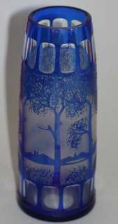 BOHEMIAN ART GLASS VASE HAIDA w. LANDSCAPE DECOR 1915