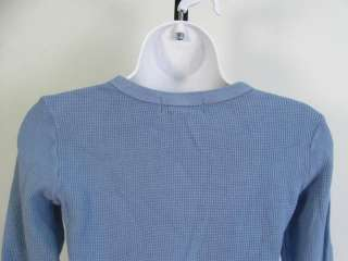 JUICY COUTURE Blue Kint Cotton Long Sleeve Shirt Sz L
