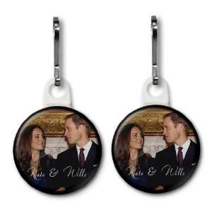 Prince William Kate Middleton Royal Wedding 2 Pack 1 White Zipper Pull