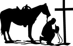 COWBOY PRAY KNEEL HORSE CROSS STICKER/DECAL CHOOSE SIZE/COLOR
