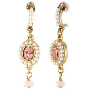 Lee Angel Gold Rose Quartz and Crystal Drop Earring Jewelry