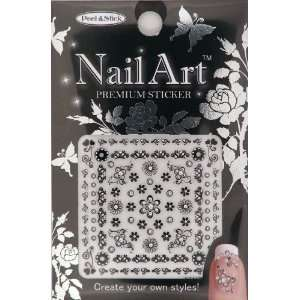 Nail Art Sticker Floral Design NSA 17 Black Beauty