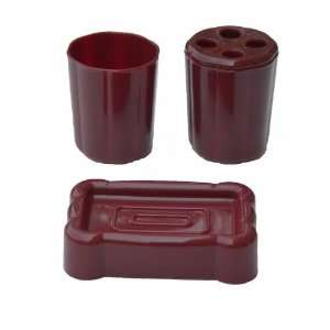 Burgundy 3 Piece Plastic Bathroom Accessory Set (soap dish, toothbrush