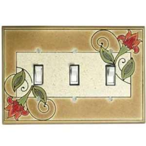Jacobean Flowers Ceramic Switch Plate / 3 Toggle