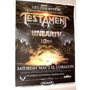 Testament Poster   Concert Flyer   2009 North American Tour