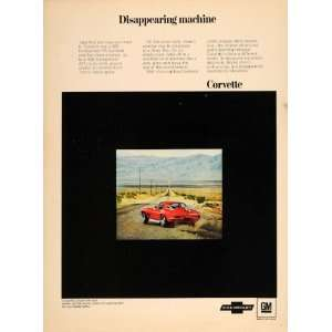 1967 Ad Chevy Corvette V8 C2 435 HP Sting Ray Coupe Car