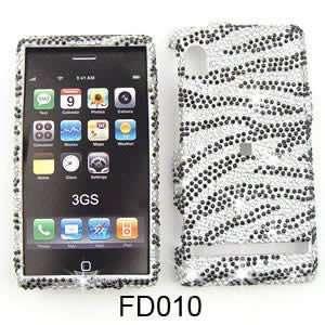 White and Black Zebra Stripes Pattern Diamond Bling Stones